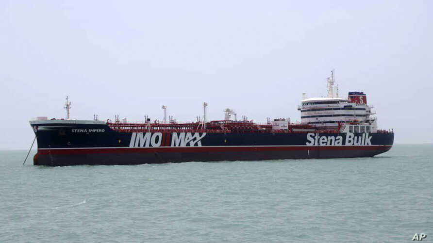 A British-flagged oil tanker Stena Impero which was seized by the Iran's Revolutionary Guard on Friday is photographed in the Iranian port of Bandar Abbas, Saturday, July 20, 2019. The chairman of Britain's House of Commons Foreign Affairs Committee…