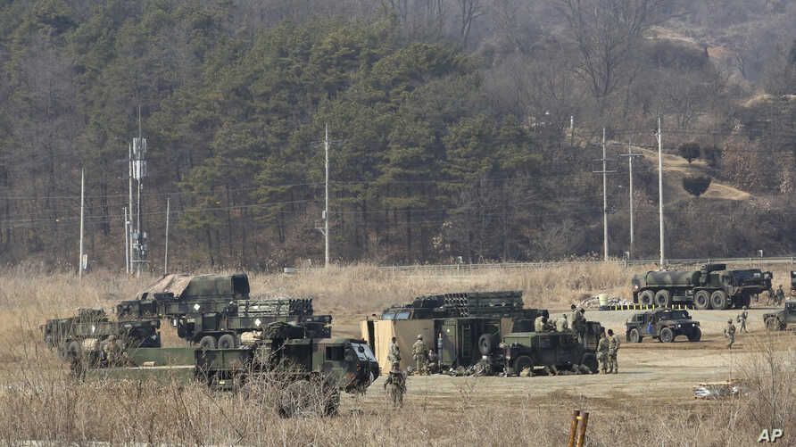 U.S. Army armored vehicles are seen during a military exercise in Yeoncheon, South Korea, near the border with North Korea, South Korea, Wednesday, Feb. 27, 2019. U.S. President Donald Trump has arrived in Vietnam for a second meeting with North…