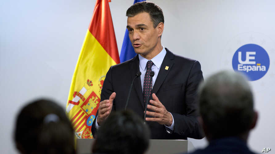 Spanish Prime Minister Pedro Sanchez speaks during a media conference at an EU summit in Brussels, Tuesday, July 2, 2019. European Union leaders on Tuesday, July 2, 2019, after a lengthy session of talks, named current Belgian Prime Minister Charles…