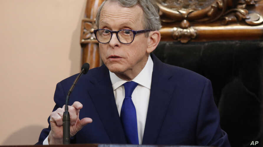 FILE - In this March 5, 2019 file photo, Ohio Governor Mike DeWine speaks during the Ohio State of the State address at the Ohio Statehouse in Columbus. DeWine says he will sign a bill imposing one of the nation's toughest abortion restrictions,…