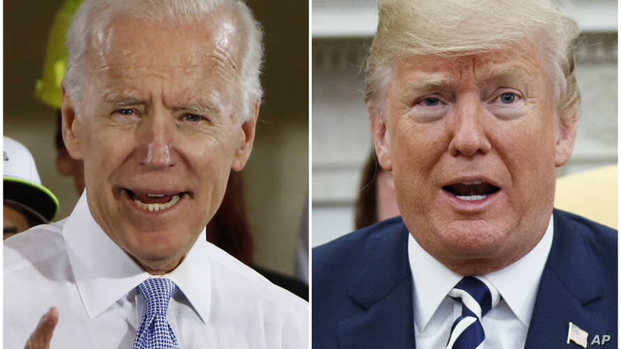 FILE - In this combination of file photos, former Vice President Joe Biden speaks in Collier, Pa., on March 6, 2018, and President Donald Trump speaks in the Oval Office of the White House in Washington on March 20, 2018. Biden regrets saying he'd …