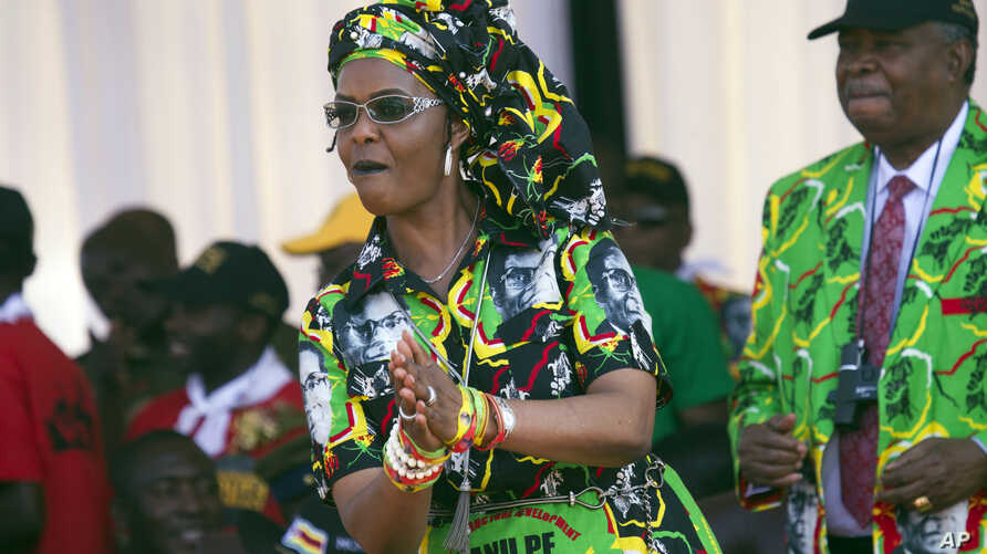 Zimbabwean First Lady Grace Mugabe dances at a rally in Gweru, Zimbabwe, Friday, Sept, 1, 2017. Mugabe made her first public statement since been accused of assaulting a young model in in neighboring South Africa, but she steered clear of the…