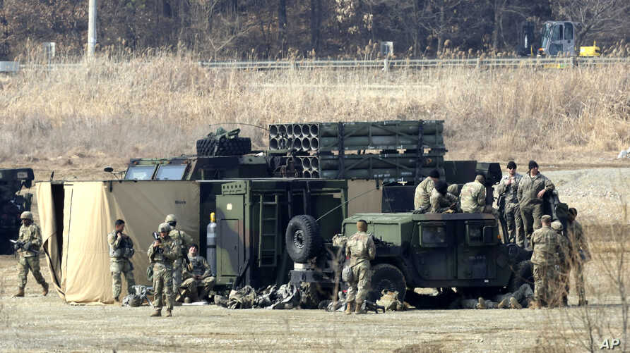 U.S. Army soldiers are seen during a military exercise in Yeoncheon, South Korea, near the border with North Korea, South Korea, Feb. 27, 2019.