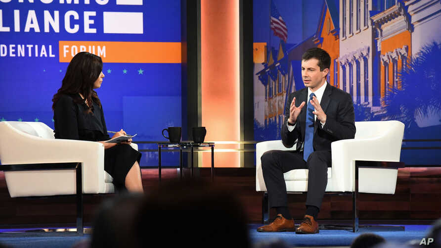 In this Friday, June 21, 2019 photo, Democratic presidential candidate, South Bend, Ind., Mayor Pete Buttigieg speaks at a forum hosted by the Black Economic Alliance in Charleston, S.C. Buttigieg is focusing his efforts this weekend on campaigning…