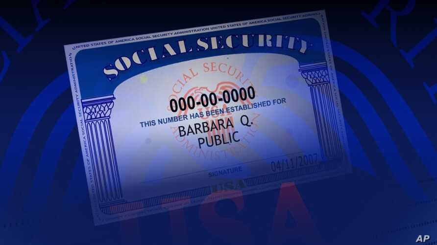 US SOCIAL SECURITY card (sample) on texture, partial graphic