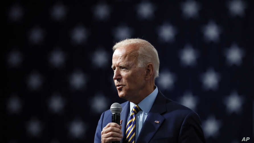 Democratic presidential candidate former Vice President Joe Biden speaks at the Presidential Gun Sense Forum, Aug. 10, 2019, in Des Moines, Iowa.