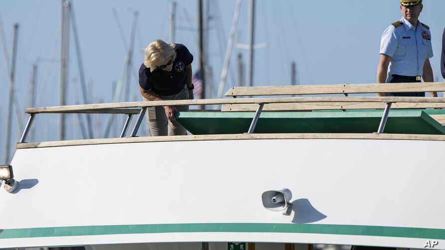 National Transportation Safety Board Board member Jennifer Homendy, left, and Jason Neubauer of the U.S. Coast Guard inspect the Vision, a sister vessel to the dive boat Conception at Santa Barbara Harbor on Wednesday, Sept. 4, 2019 in Santa Barbara…