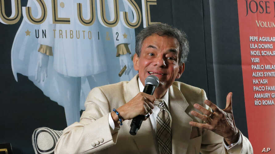 Mexican singer Jose Jose speaks during a press conference in Mexico City, Wednesday, March, 19, 2014. The singer, whose full name is Jose Romulo Sosa Ortiz, spoke with reporters and posed for pictures during the conference to promote his upcoming…