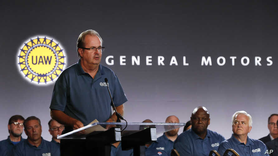 FILE - In this July 16, 2019, file photo United Auto Workers President Gary Jones speaks during the opening of their contract talks with General Motors in Detroit. A strike against General Motors looms large with just over a day left until the…