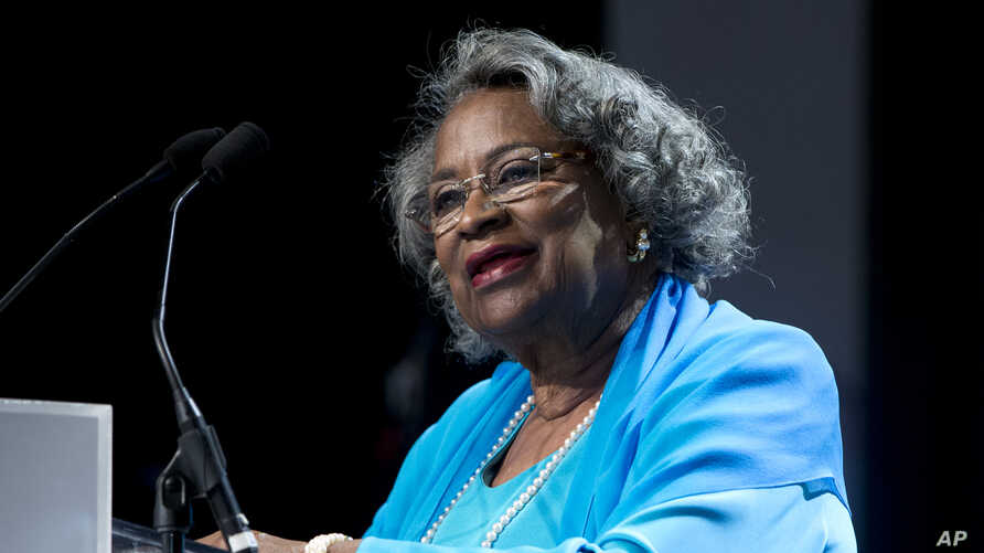 """FILE - In this Saturday, Sept. 19, 2015 file photo, Civil rights activist Juanita Abernathy speaks after receiving the George Thomas """"Mickey"""" Leland Award at the Congressional Black Caucus Foundation's 45th Annual Legislative Conference Phoenix…"""