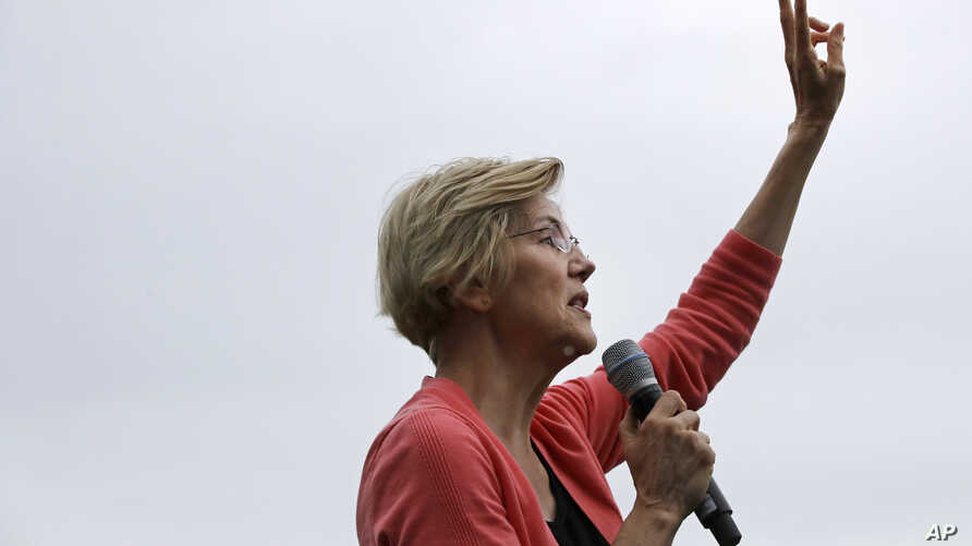 Democratic presidential candidate Sen. Elizabeth Warren, D-Mass., speaks about her two-cent tax plan during a campaign event, Monday, Sept. 2, 2019, in Hampton Falls, N.H. (AP Photo/Elise Amendola)