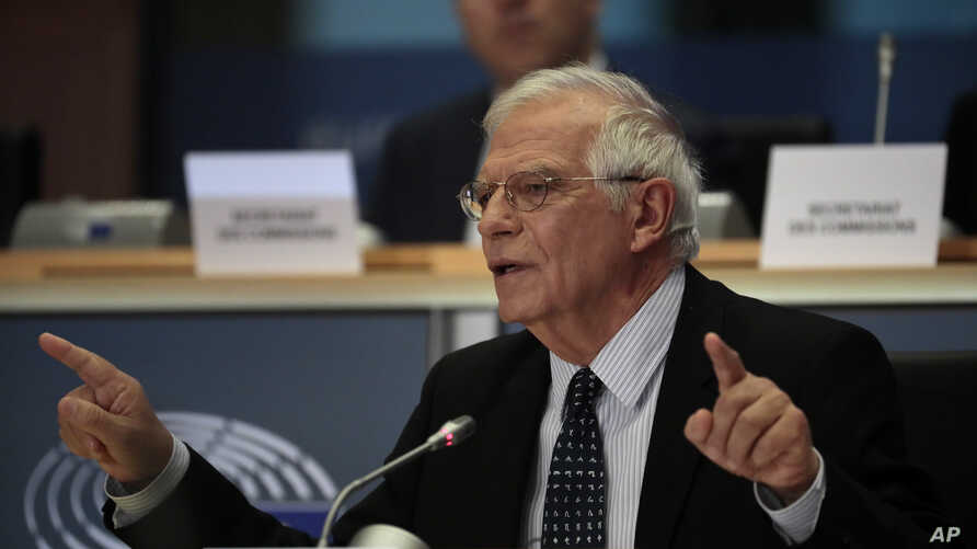 Nominated European foreign policy chief Josep Borrell answers questions during his hearing at the European Parliament in…