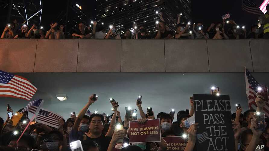 Protestors during a peaceful rally in central Hong Kong's business district