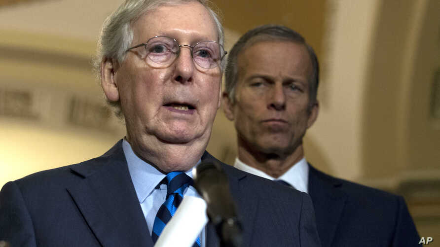 Senate Majority Leader Mitch McConnell, R-Ky., speaks with the media after the Senate Policy Luncheon in Capitol Hill in…