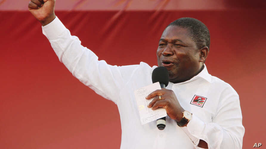 In this photo taken Saturday, Oct. 12, 2019, ruling Frelimo Party leader and President Filipe Nyusi, at an election rally in…