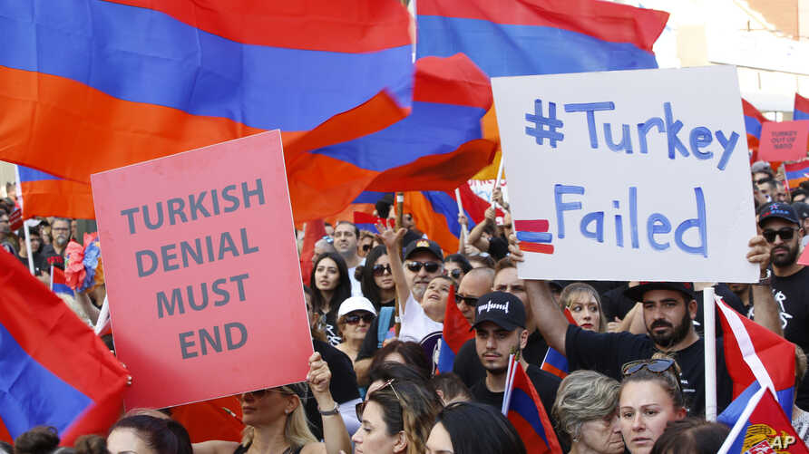 Huge crowds of Armenian Americans march during an annual commemoration of the deaths of 1.5 million Armenians under the Ottoman…