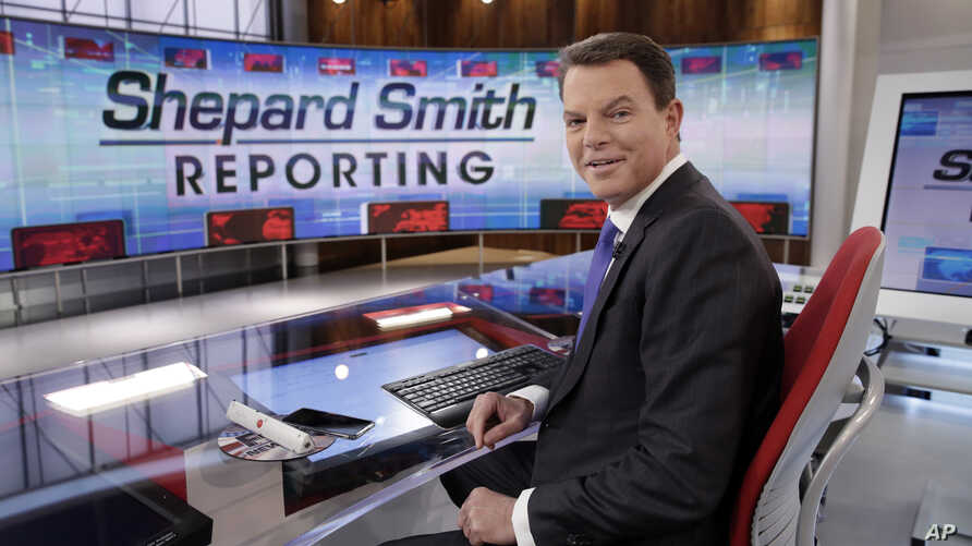 """FILE - In this Jan. 30, 2017, file photo, Fox News Channel chief news anchor Shepard Smith appears on the set of """"Shepard Smith…"""