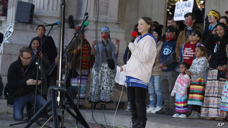 Swedish climate activist Greta Thunberg speaks to several thousand people at a climate strike rally at Denver's Civic Center…
