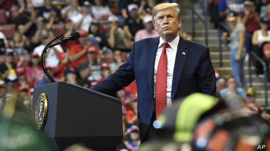 President Donald Trump speaks at a campaign rally in Sunrise, Fla., Tuesday, Nov. 26, 2019. (AP Photo/Susan Walsh)