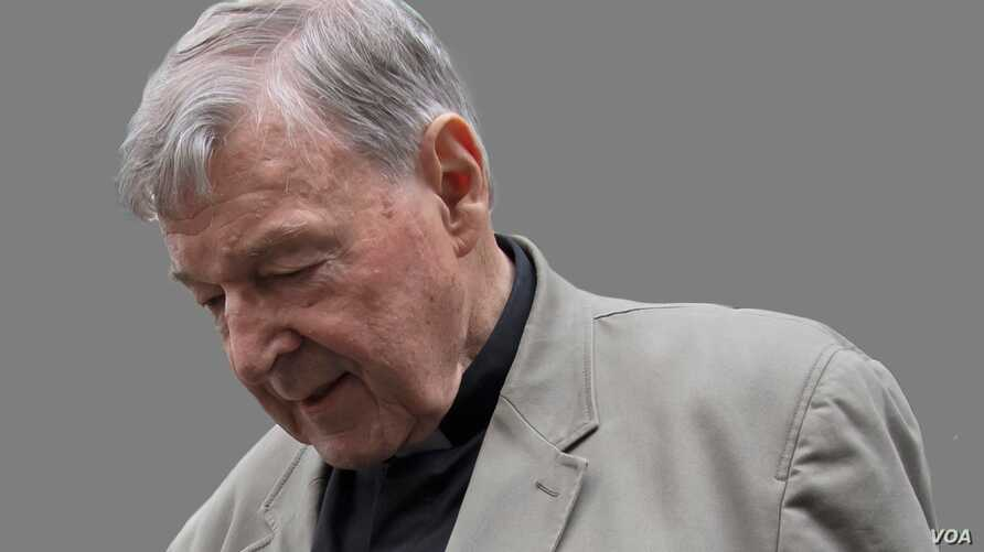 Cardinal George Pell headshot, arrives at the County Court in Melbourne, Australia, graphic element on gray