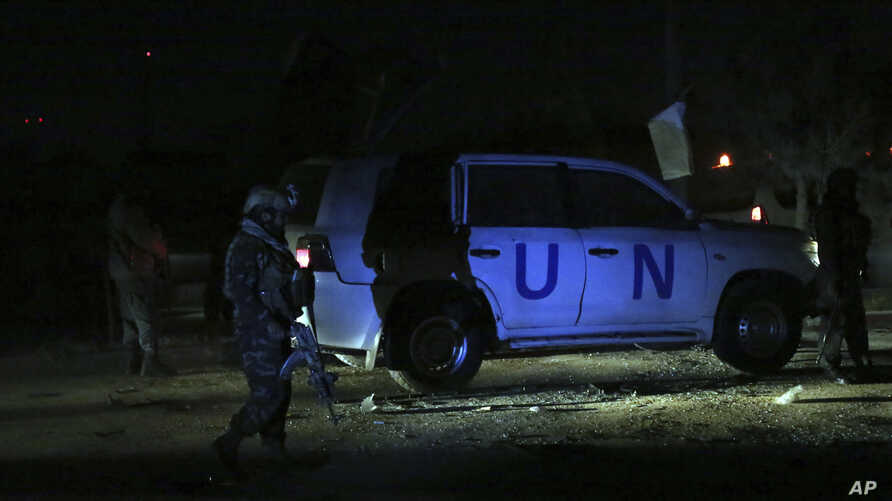 Afghan security personnel arrive at the site of explosion in Kabul, Afghanistan, Sunday, Nov. 24, 2019. An Afghan official said…