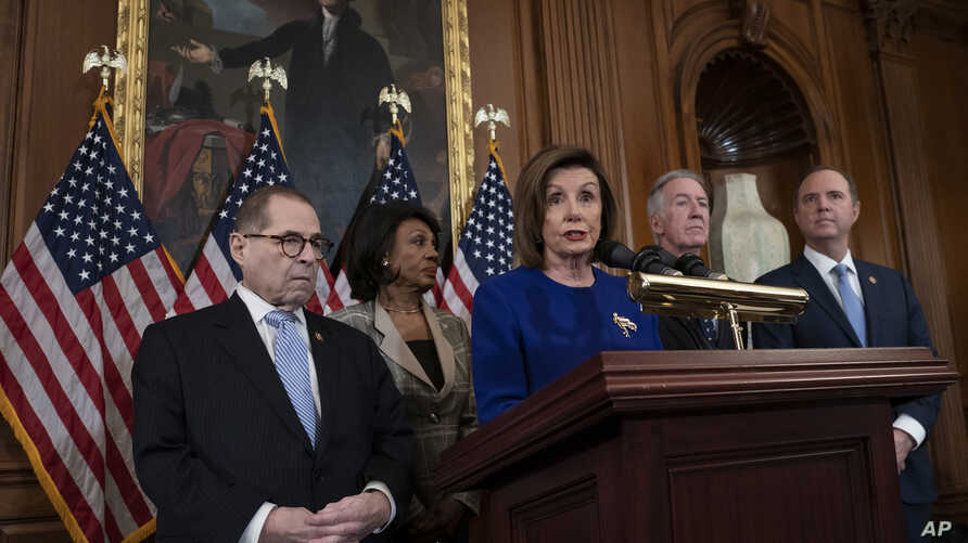 Speaker of the House Nancy Pelosi, D-Calif., joined from left by House Judiciary Committee Chairman Jerrold Nadler, D-N.Y.,…
