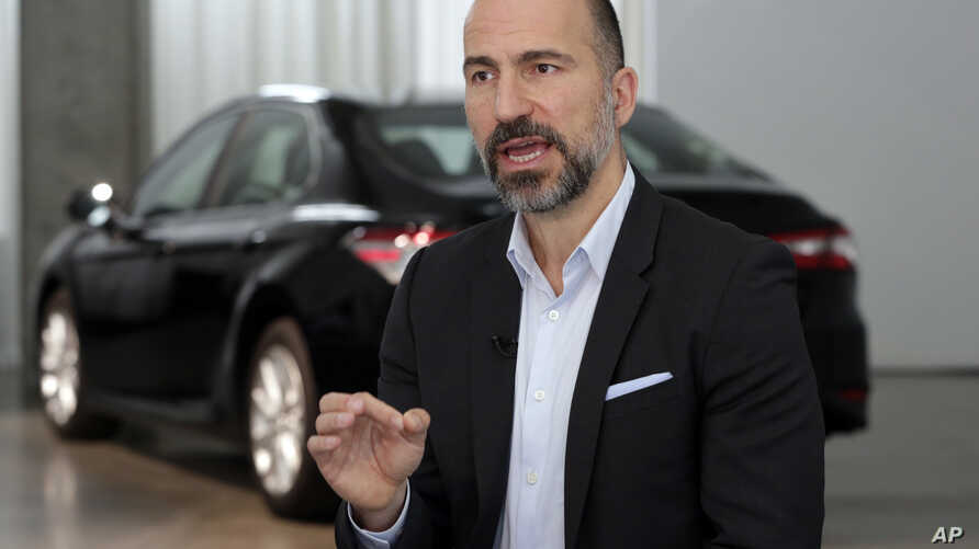 Uber CEO Dara Khosrowshahi speaks during an interview after the company unveiled new features in New York, Wednesday, Sept. 5,…