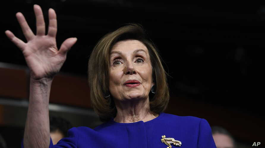House Speaker Nancy Pelosi of Calif., speaks at a news conference on Capitol Hill in Washington, Tuesday, Dec. 10, 2019, on…