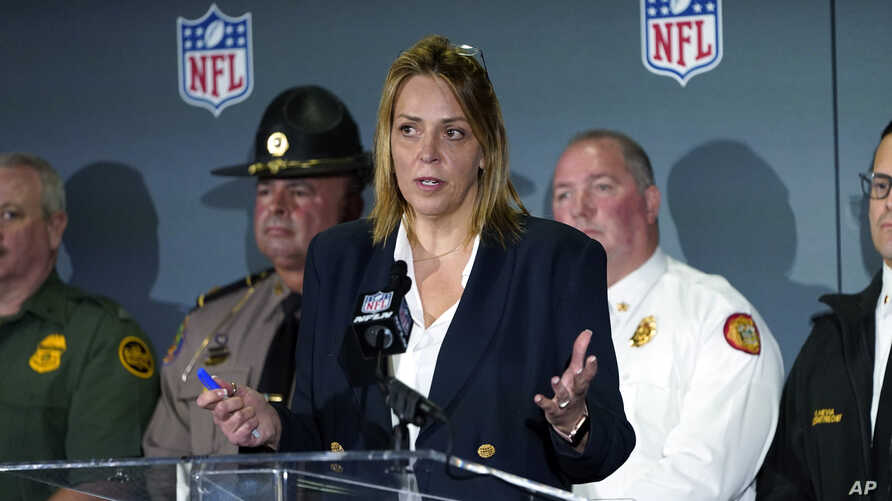 NFL Chief Security Officer Cathy Lanier answers a question during a security news conference for the NFL Super Bowl 54 football…