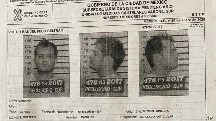 This document provided by the Mexico City government shows the Oct. 28, 2017 mug shots and criminal record of Victor Manuel…