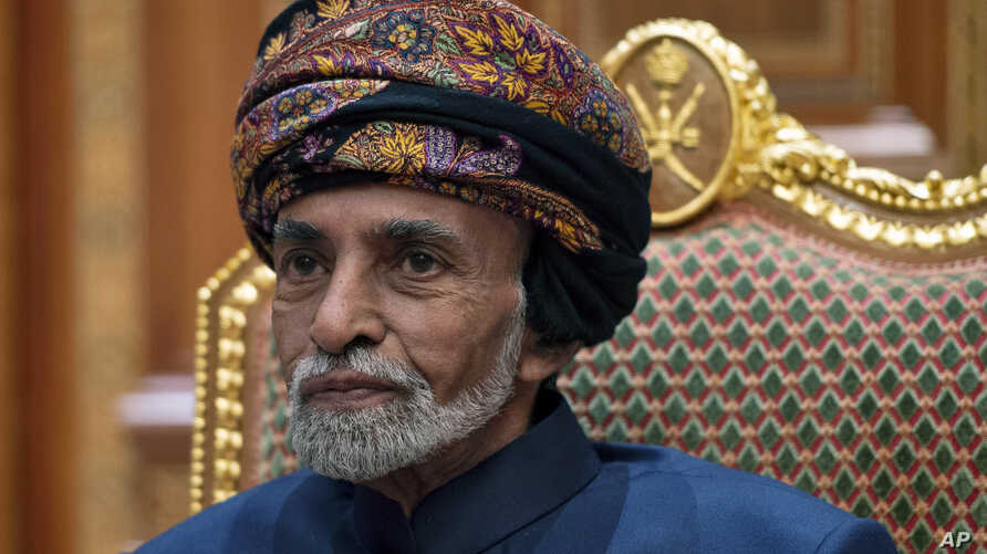 Sultan of Oman Qaboos bin Said al-Said sits during a meeting with Secretary of State Mike Pompeo at the Beit Al Baraka Royal…
