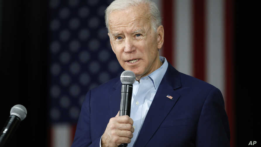 Democratic presidential candidate former Vice President Joe Biden speaks during a campaign event at the North Iowa Events…