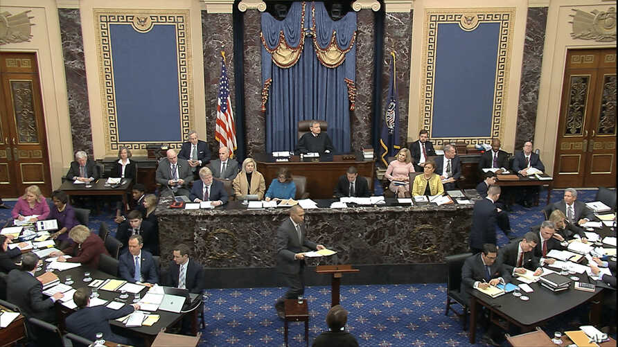 In this image from video, House impeachment manager Rep. Hakeem Jeffries, D-N.Y., speaks during the impeachment trial against…
