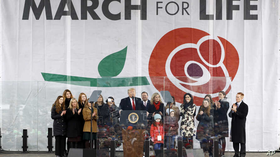 "President Donald Trump speaks at the ""March for Life"" rally, Friday, Jan. 24, 2020, on the National Mall in Washington. (AP…"