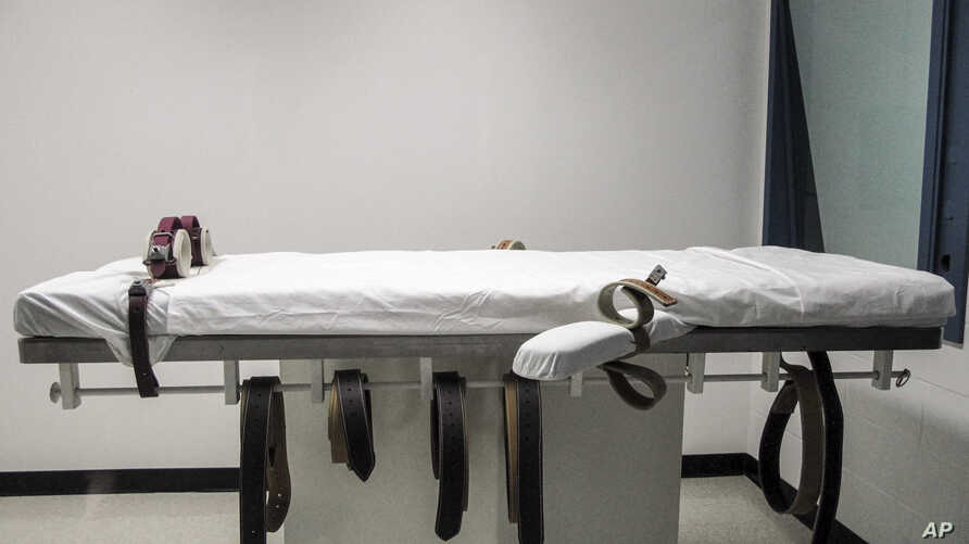 FILE - This July 7, 2010 file photo, shows Nebraska's lethal injection chamber at the State Penitentiary in Lincoln, Neb. A new…