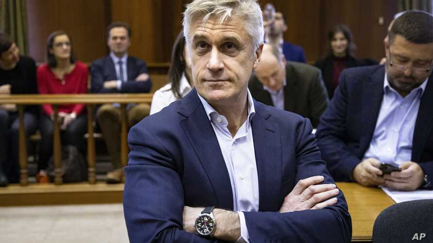 Founder of the Baring Vostok investment fund Michael Calvey sits in a court room in Moscow, Russia, Feb. 10, 2020.