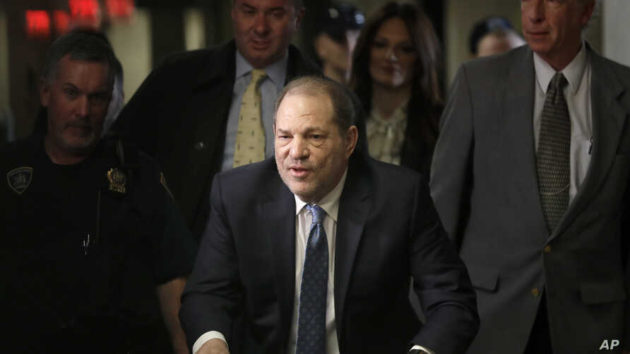 Harvey Weinstein arrives at a Manhattan courthouse for jury deliberations in his rape trial, Monday, Feb. 24, 2020, in New York…