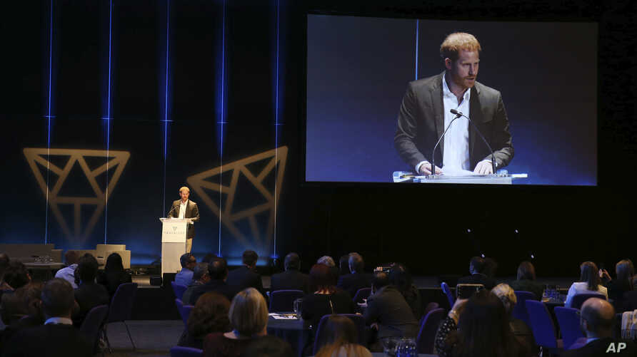 Britain's Prince Harry, speaks during a sustainable tourism summit at the Edinburgh International Conference Centre in…