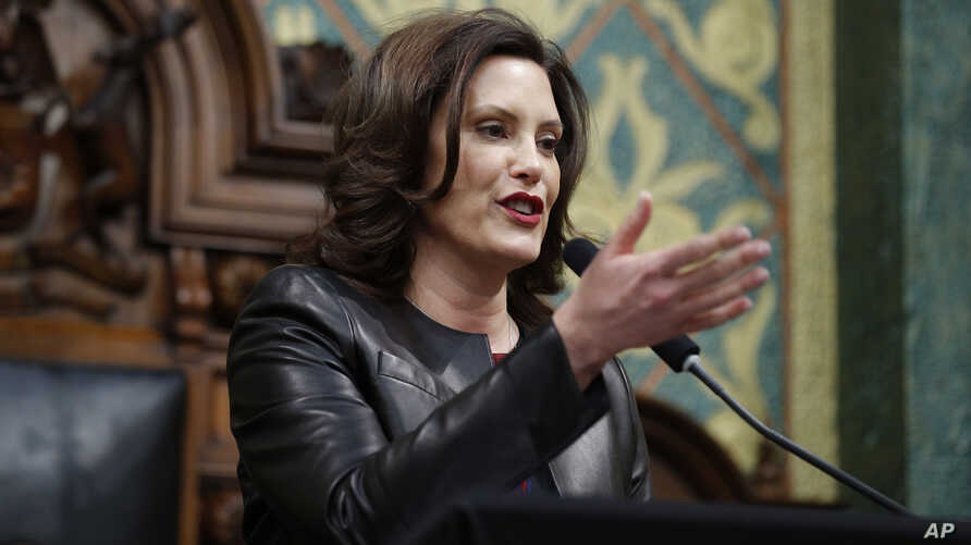 Michigan Gov. Gretchen Whitmer delivers her State of the State address to a joint session of the House and Senate, Wednesday,…