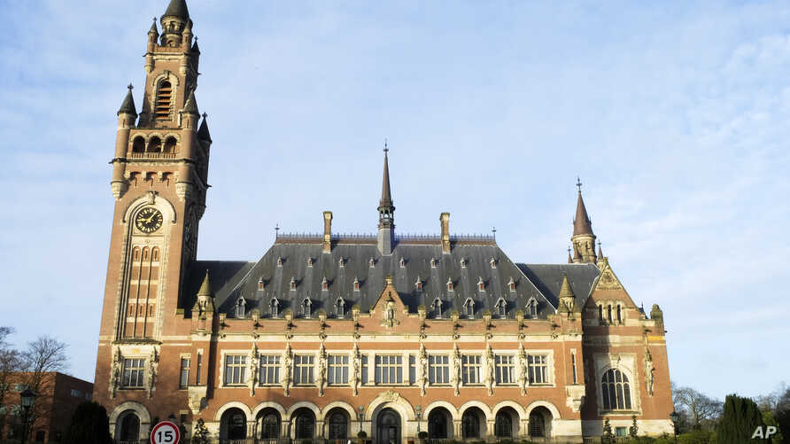 Exterior view of the Peace Palace housing the World Court in The Hague, Netherlands, Monday, Feb. 17, 2020. Lawyers for…