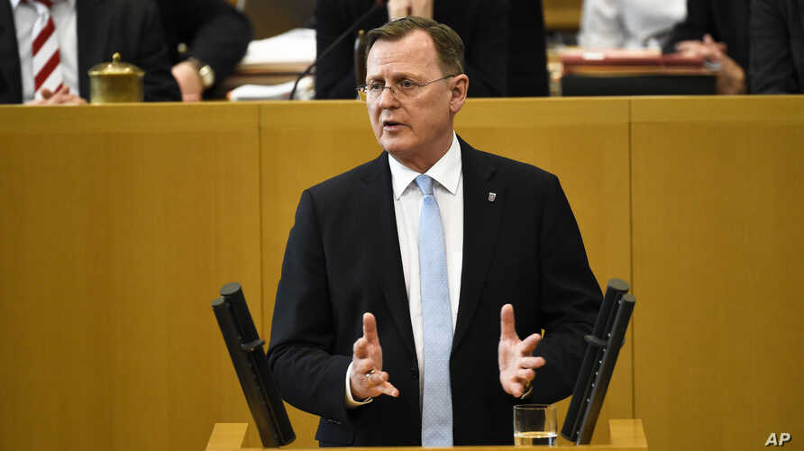 New elected state governor of the German state Thuringia Bodo Ramelow delivers a speech after the governor elections at the…