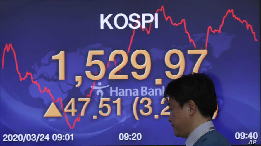 A currency trader walks by a screen showing the Korea Composite Stock Price Index (KOSPI) at the foreign exchange dealing room…
