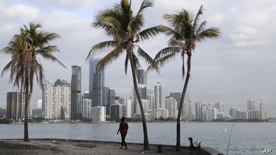 A man fishes in Biscayne Bay, with the skyline of Miami on the horizon, Friday, Feb. 2, 2018, in Miami. The weather is forecast…