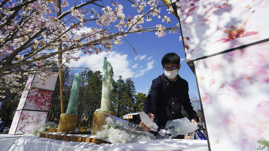 A man offers a flower at a makeshift altar to mourn for the victims of the March 11, 2011 earthquake and tsunami during a…