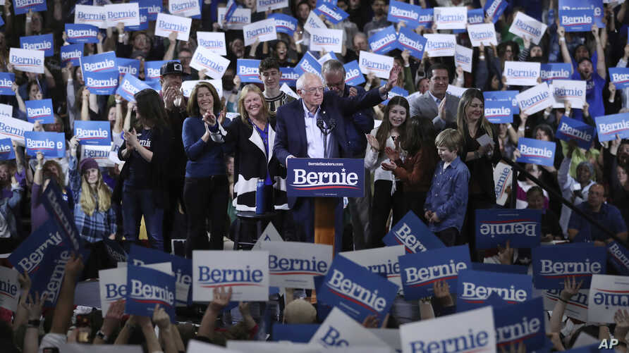 Democratic presidential candidate Sen. Bernie Sanders, I-Vt., speaks during a primary night election rally in Essex Junction,…