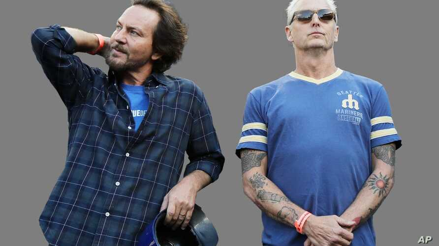 Eddie Vedder, (l-r), as lead singer of the rock band Pearl Jam, and Mike McCready, as Pearl Jam guitarist, graphic element on…