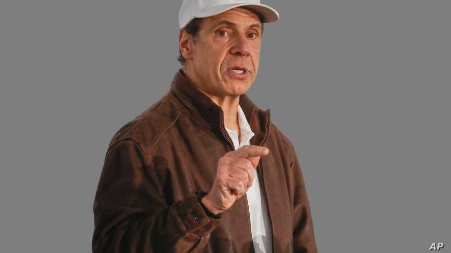 Andrew Cuomo headshot, as New York Governor, graphic element on gray