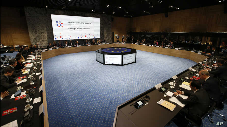 EU foreign ministers attend a EU foreign affairs council in Zagreb, Croatia, Friday, March 6, 2020. EU foreign affairs…