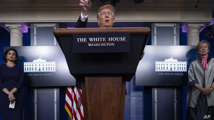 President Donald Trump speaks about the coronavirus in the James Brady Press Briefing Room of the White House, Tuesday, April 7…