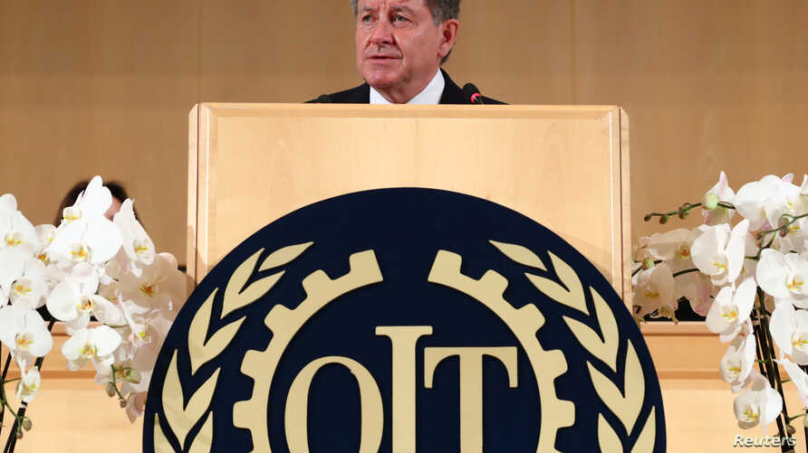 Director-General of the International Labor Organization (ILO) Guy Ryder speaks during the 108th ILO International Labor Conference at the United Nations in Geneva, Switzerland, June 10, 2019.